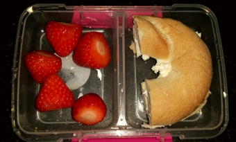 Strawberries and Bfree bagel with Koko cream cheese