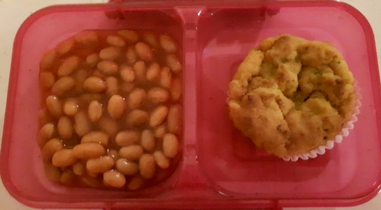 Baked beans and Courgette & carrot muffin
