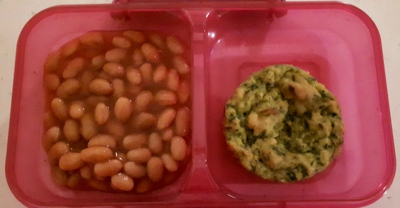 Baked beans and Spinach muffin