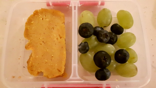 Sweet potato bread & grapes & blueberries